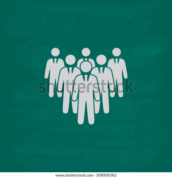 Leader standing in front of corporate crowd. Icon. Imitation draw with white chalk on green chalkboard. Flat Pictogram and School board background. Vector illustration symbol