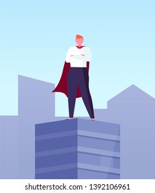 Leader in superhero cloak on top of skyscraper in city center. Vector business hero, superhuman big boss, commercial businessman on roof with hands on chest