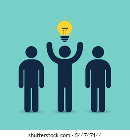 Leader of team with idea business concept. Vector illustration.