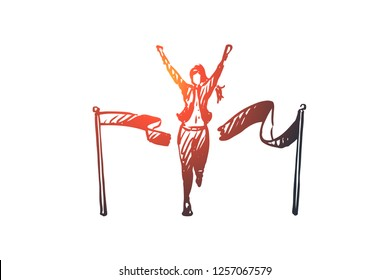 Leader, winner vector concept. Woman crossing finish line and breaking ribbon. Hand drawn sketch isolated illustration