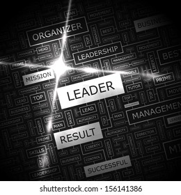 LEADER. Word cloud concept illustration. Graphic tag collection. Wordcloud collage with related tags and terms.
