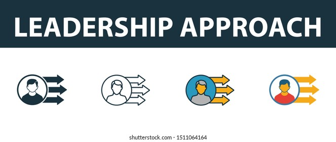 Leadership Approach icon set. Four elements in diferent styles from risk management icons collection. Creative leadership approach icons filled, outline, colored and flat symbols.