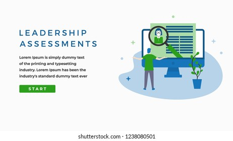 Leadership Assesments Concept with Man in front of a Monitor, Button, Text Place. Suitable for Web banner, Infographics, Hero images. Flat Vector Character  Illustration Isolated on White Background.