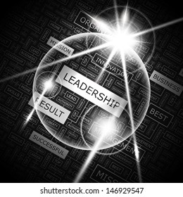 LEADERSHIP. Background concept wordcloud illustration. Print concept word cloud. Graphic collage with related tags and terms. Vector illustration.
