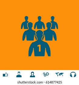 Leadership. Blue symbol icon on orange background. Vector illustration and bonus icons Thumb up, Man and Woman avatar, Gears, World map, Headphones
