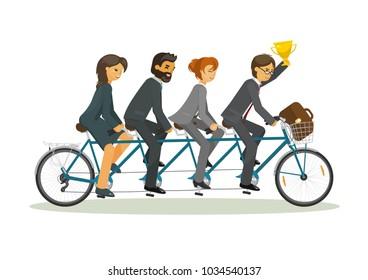 Leadership. Business team riding tandem bicycle together. Business teamwork, leader, winner concept. Vector illustration on white background.
