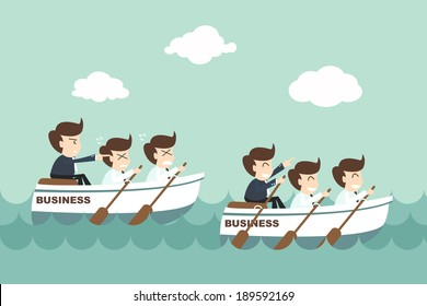 Leadership - businessman rowing team
