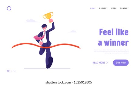 Leadership and Competition Website Landing Page. Business Man Holding Golden Goblet Take Part in Race Run to Success Crossing Finish Line with Ribbon Web Page Banner. Cartoon Flat Vector Illustration