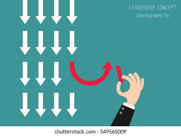 Leadership concept Business Man Drawing Arrows on board Background.