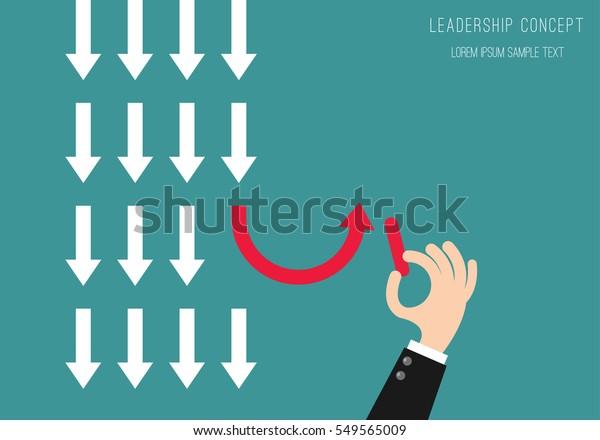 Concepto de liderazgo Hombre de negocios Dibujo Flechas a bordo Fondo.