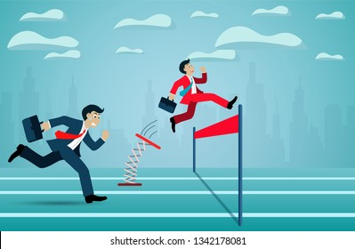 Leadership concept. Businessman competition run go to the finish line to success goal. business finance concept. creative idea. illustration cartoon vector
