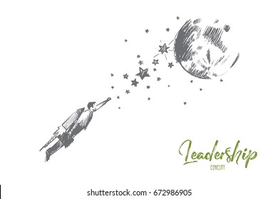 Leadership concept. Hand drawn male leader moving up. Success businessman isolated vector illustration.