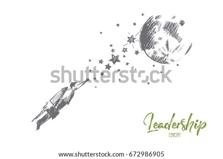 leadership concept hand drawn male leader stock vector royalty free