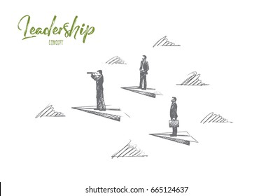 Leadership concept. Hand drawn success people, leaders, who know the strategy. Manager, team lead isolated vector illustration.
