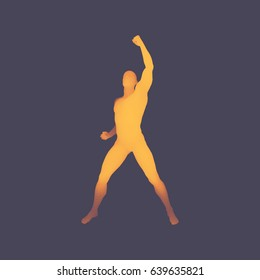 Leadership concept. Human with arm up. Silhouette for sport championship. 3D Model of Man. Vector Illustration.