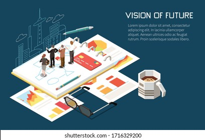 Leadership concept isometric background with editable text and human characters building plans for business with cityscape vector illustration