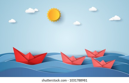 Leadership concept , origami boat sailing in blue ocean , paper art style