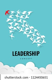 Leadership concept with paper art, abstract, bird , teamwork icon paper cut style vector