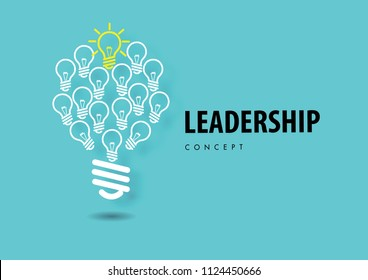 Leadership concept with paper art, abstract, light lamp, line icon paper cut style vector