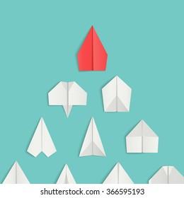 Leadership concept with red paper airplane leading among white. Vector illustrations