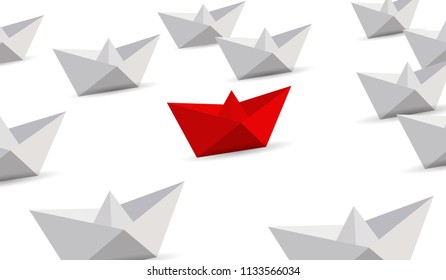 Leadership concept. Red and white paper boats. illustration over a white background