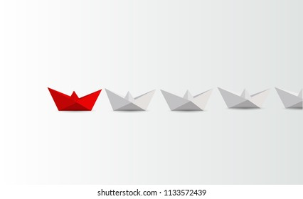Leadership concept. Red and white paper boats. business concept. illustration design graphic