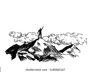 Leadership concept sketch,leading man  standing in top of a mount,vector illustration