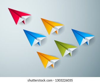 Leadership concept visualized with origami folded plane toys one of them is flying in the front and leading the team group, vector modern style 3d illustration.