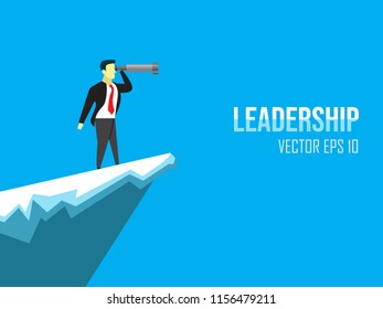 leadership design illustration with the character of the person holding the binoculars