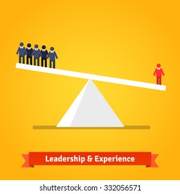 Leadership and experience of the one outweighs group of others. Flat style vector illustration isolated on white background.