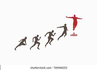 Leadership, freedom or happiness concept. Successful team leader. Vector illustration with people silhouette for business.
