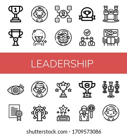leadership icon set. Collection of Trophy, Man, Skill, Award, Agreement, Meeting, Vision, Prize, Leadership, Headhunting, Group icons