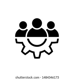 Leadership line icon in flat style. Team and gear symbol isolated on white. Teamwork concept. Vector group of people icon. Simple teamwork abstract icon in black. Vector illustration