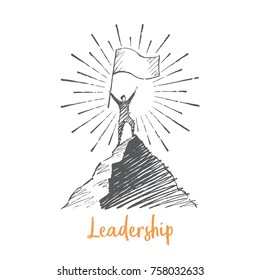 Leadership. A man stands on top of a mountain, holding a big flag in his hands. Vector business concept hand drawn sketch.