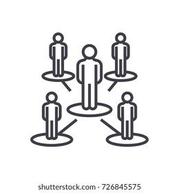 leadership network,multilevel marketing,mlm vector line icon, sign, illustration on background, editable strokes