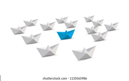 Leadership origami boats concept. blue and white paper boats. illustration over a white background