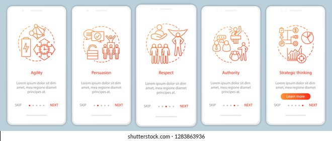 Leadership qualities onboarding mobile app page screen vector template. HR soft skills. Agility, authority, persuasion walkthrough website steps. UX, UI, GUI smartphone interface concept