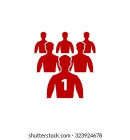 Leadership. Red flat icon. Vector illustration symbol