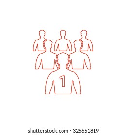 Leadership. Red outline vector pictogram on white background. Flat simple icon