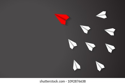 Leadership of Red paper airplane concept between white paper airplane. Key man and Business successful with one direction together. Black texture illustration background vector.