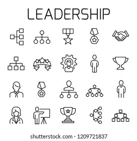 Leadership related vector icon set. Well-crafted sign in thin line style with editable stroke. Vector symbols isolated on a white background. Simple pictograms.
