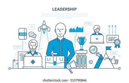 Leadership and leadership skills, career success and education, achieving new heights and development, communication. Illustration thin line design of vector doodles, infographics elements.