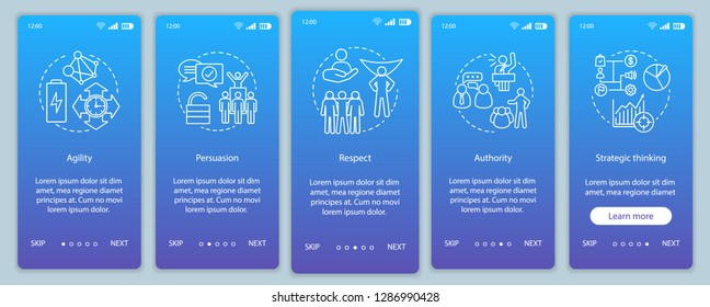 Leadership skills onboarding mobile app screen vector template. Employee soft qualities, abilities. Respect, authority, persuasion walkthrough website steps. UX, UI, GUI smartphone interface concept