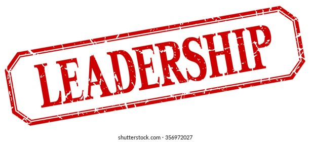 leadership square red grunge vintage isolated label