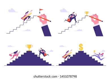 climbing ladder cartoon images stock photos vectors shutterstock https www shutterstock com image vector leadership success challenge set business people 1451078798