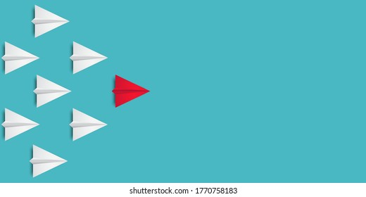 Leadership success concept paper plane fly over blue background. New idea, courage, new thinking, creative decision, think differently. Lead airplane stand out of other paper plane follower