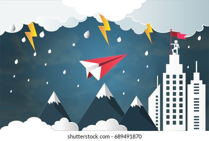 Leadership success concept, Red plane flying against bad weather and thunderbolt in storm over mountain go to architectural building with businessman on top holding flag (Vector paper art style)