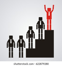 Leadership and teamwork concept. The Business leader standing at top of podium. Vector illustration.