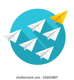 Leadership and teamwork concept. Group of paper planes flying behind the yellow leader. Flat style vector illustration isolated on white background.