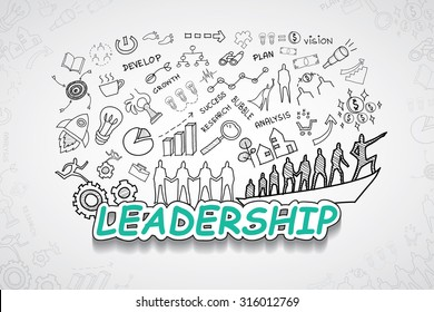 Leadership text, With creative drawing charts and graphs business success strategy plan idea, Inspiration concept modern design template workflow layout, diagram, step up options, Vector illustration